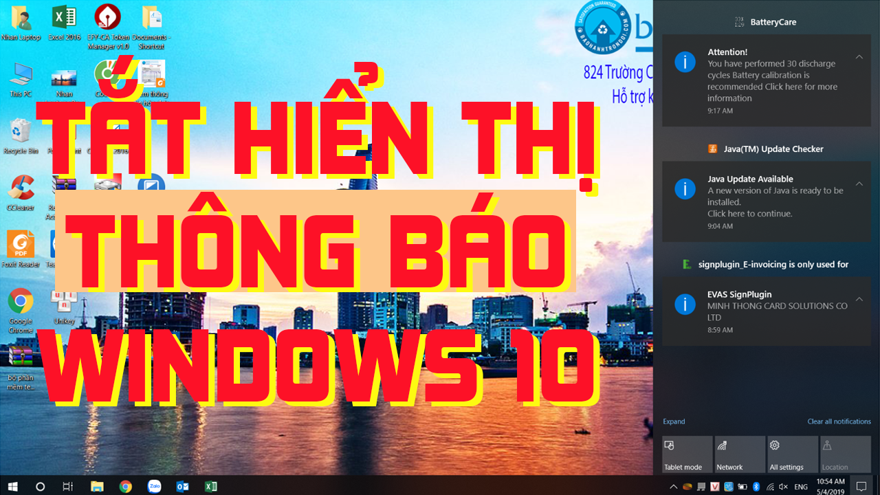Tắt hiển thị thông báo trên Windows 10 (How to turn off notifications and action in windows 10)